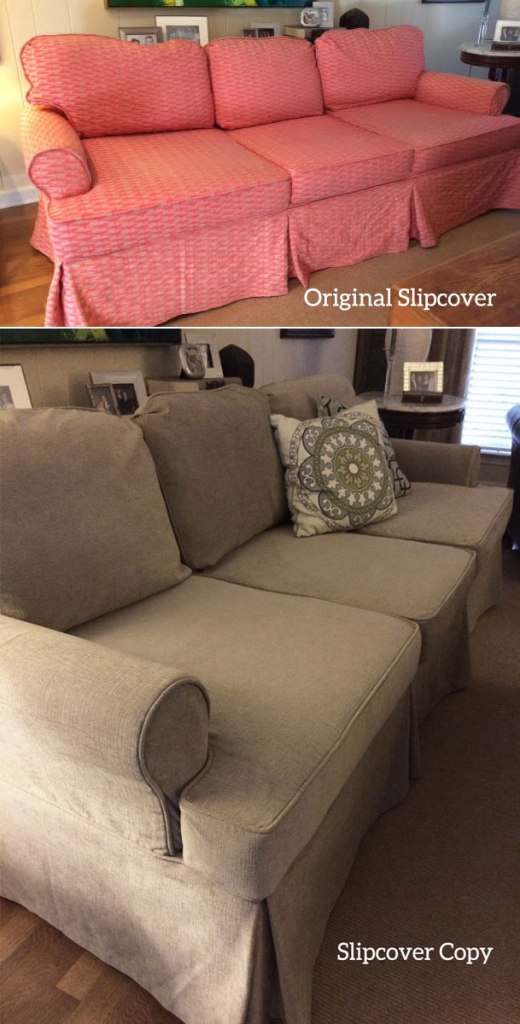 Sofa Slipcover Before and After
