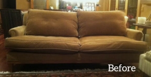 brown sofa before slipcover