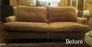 brown sofa before slipcover