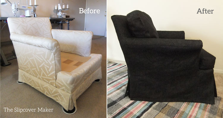 Genial Before And After Black Denim Slipcover