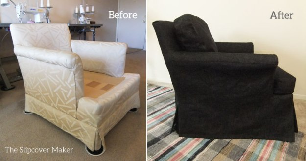 Before and After Black Denim Slipcover
