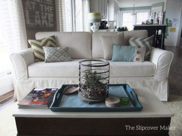 Sofa Makeover with Canvas Slipcover