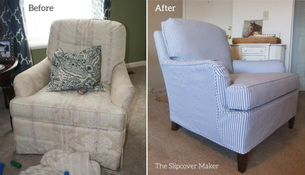 Ticking Stripe Slipcover For Old Drexel Chair The