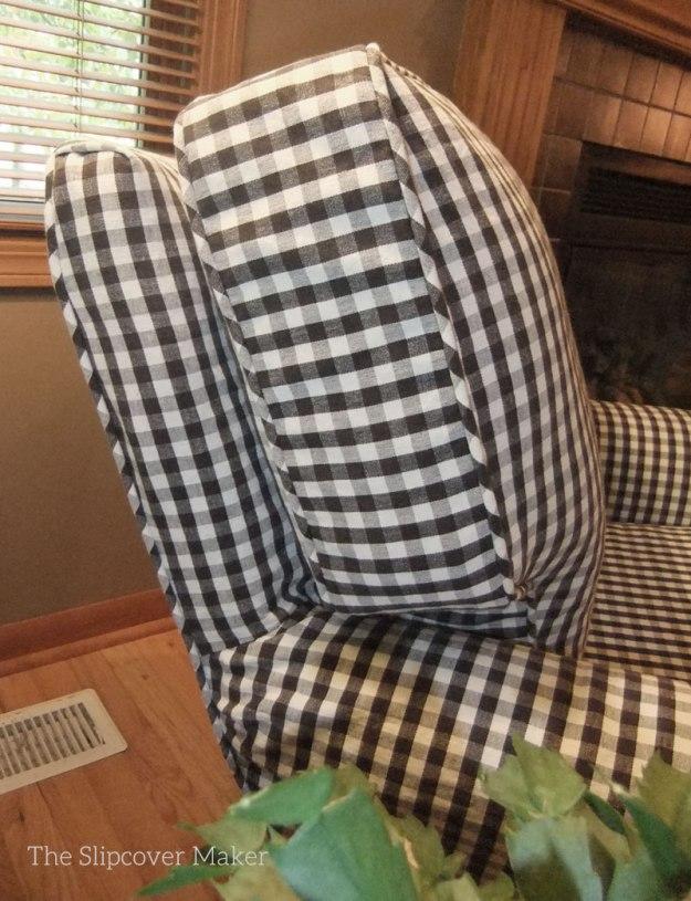 Charcoal Gingham Chair Slipcover The Slipcover Maker