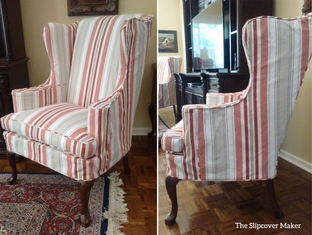Chair Slipcover In Bridgewater Stripe