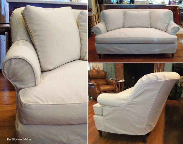 Custom Loveseat Slipcover in Khaki Denim