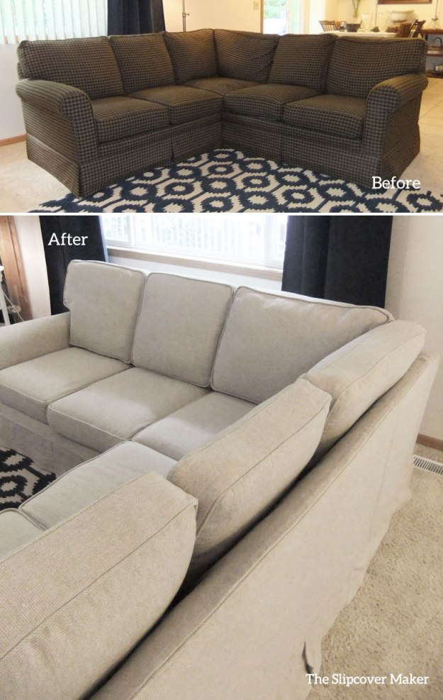 Gray Line Linen and Cotton Slipcover for Sectional