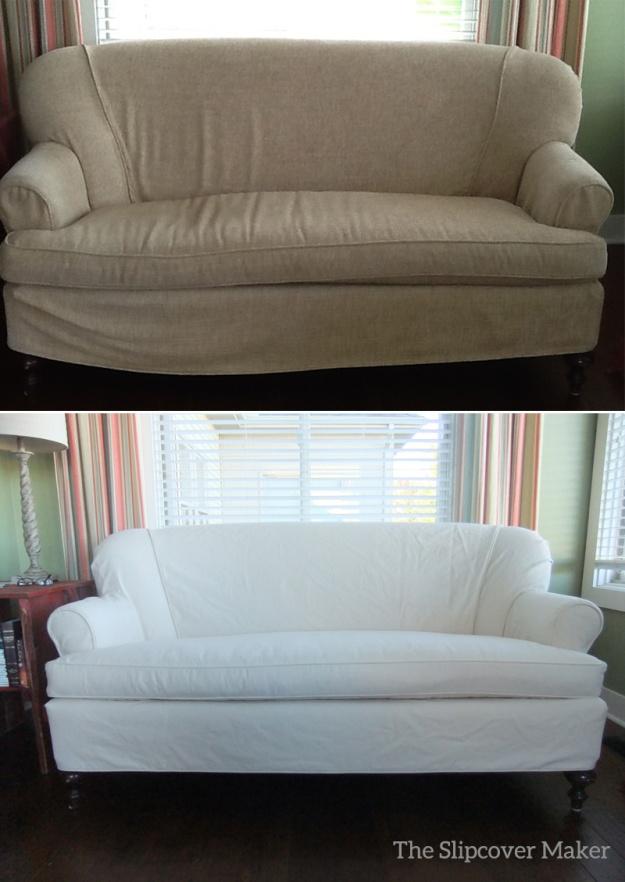 Love Seat Slipcover in Natural Denim