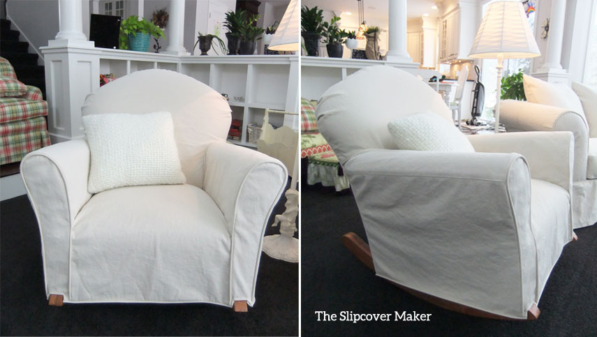 Natural Denim Rocker Chair Slipcover