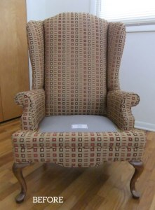 Upholstered Wingback Before Slipcover