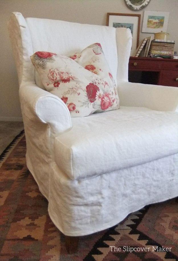 Off White Linen Chair Slipcover