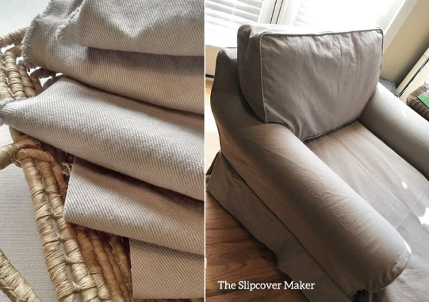 Chaise Slipcover Copy in Taupe Bull Denim