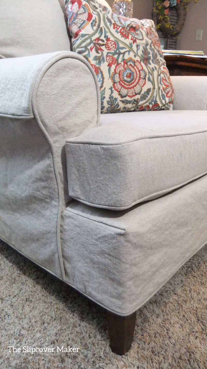 Slipcover fabric by the yard - Oatmeal Linen Cotton Armchair Slipcover