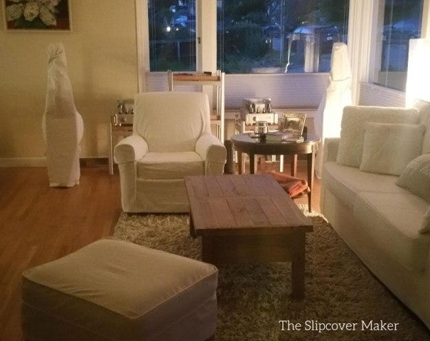 Armchair and Ottoman White Denim Slipcovers