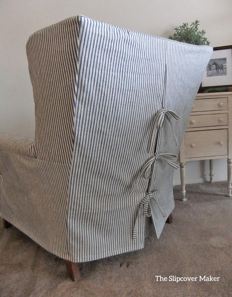Indigo Ticking Stripe Chair Slipcover