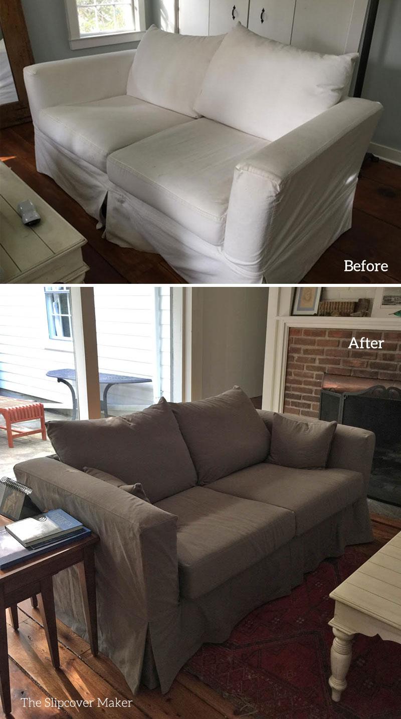 Replacement Denim Slipcover For Tuxedo Arm Sofa The