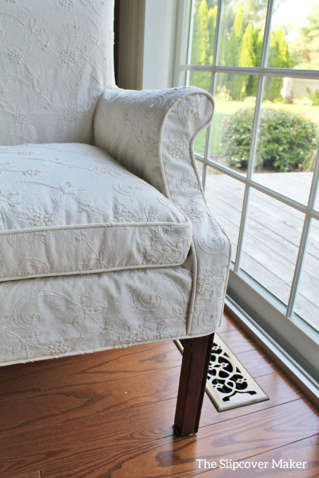 Dining Chair Dressed Up In Embroidered Slipcover
