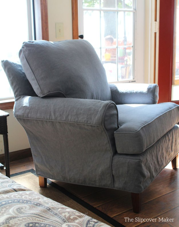 InstaLinen Slate Blue Chair Slipcover