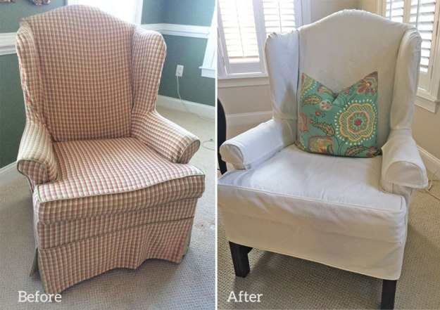 White Denim Slipcover for Wing Back Chair