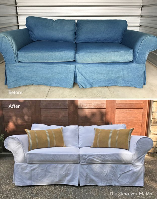 Denim slipcovers for sofas infosofaco for Creative reclaimed denim sofa covers