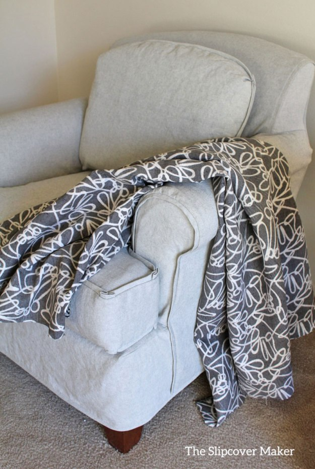 Chair Slipcover Grey Canvas for Lazy Boy
