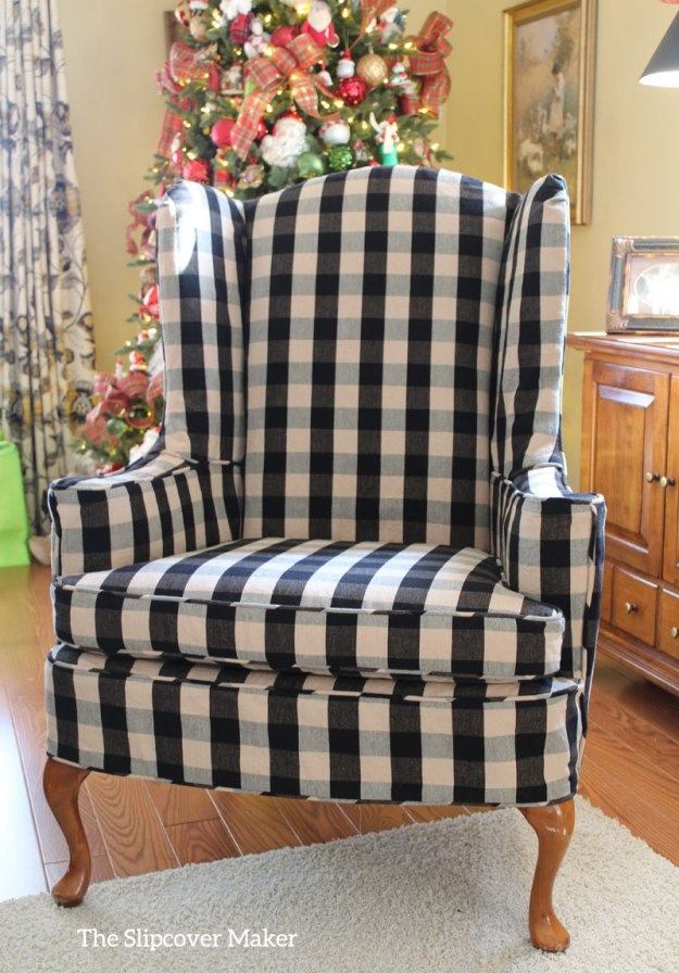 Custom Slipcover Wing Chair Buffalo Check