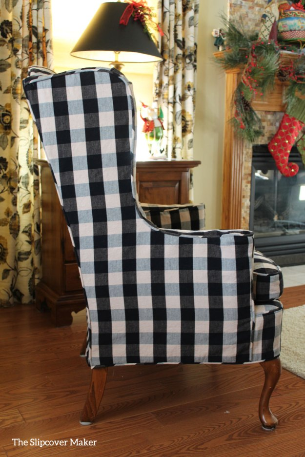 Wing Chair Slipcover Black Natural Check