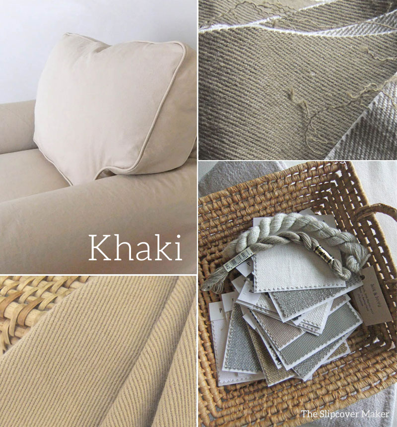 Khaki Denim Slipcover Fabrics