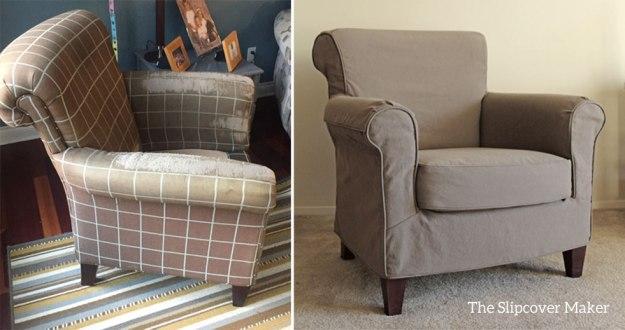 Chair Slipcover in Mushroom Denim