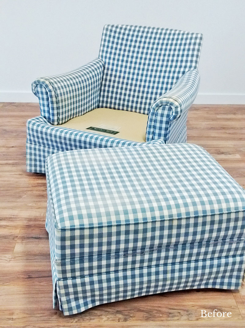 Custom Gingham Slipcovers For Welsey Hall Chair