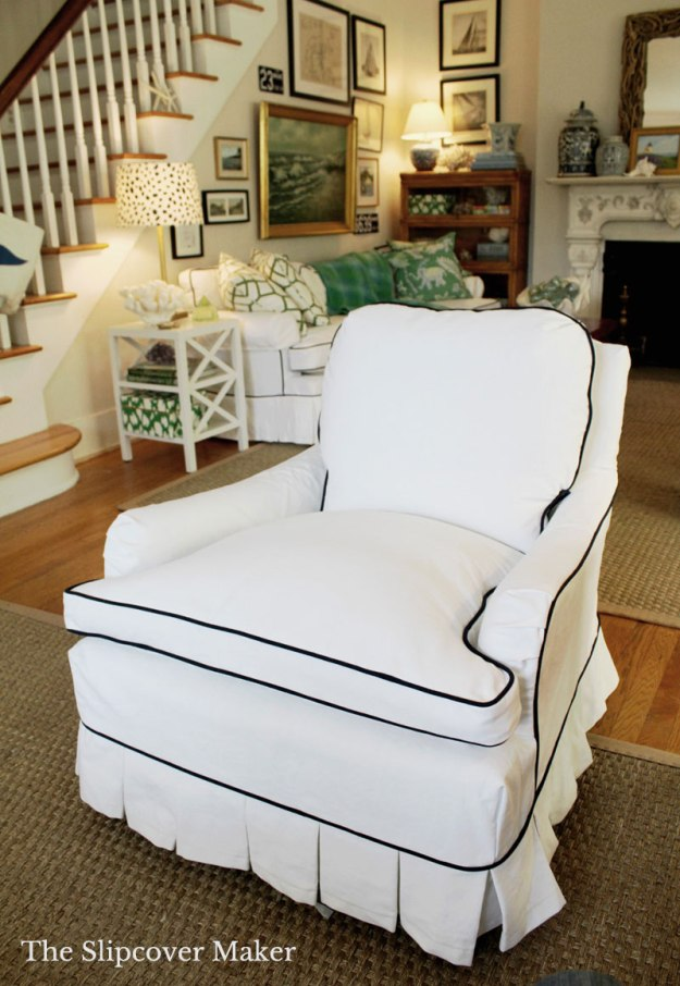 White Denim Armchair Slipcover