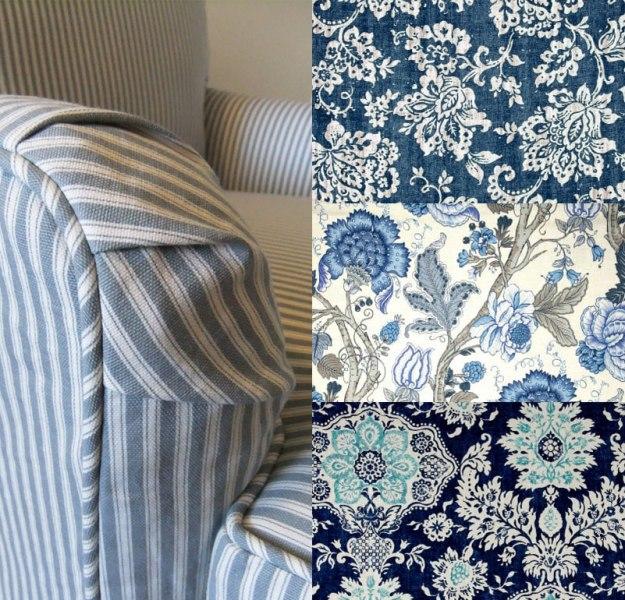 Slipcover Fabric Prints Blue