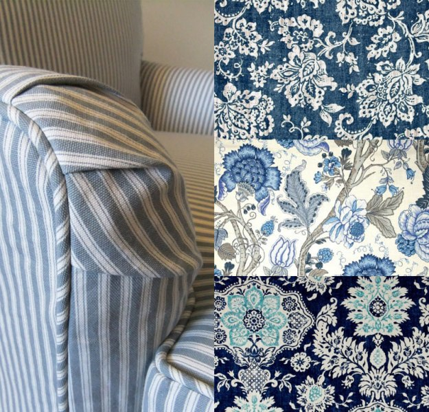 Slipcover Fabric Prints Blue