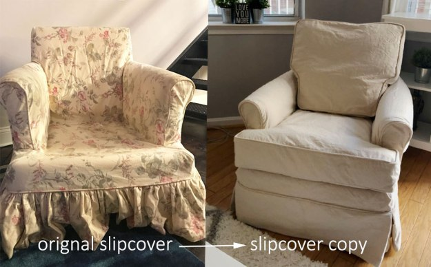 Natural canvas replacement slipcover for a chair.