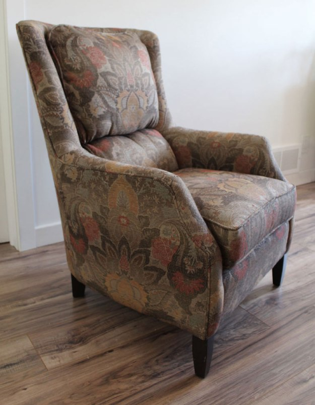 Arhaus Chair Before Slipcover Makeover