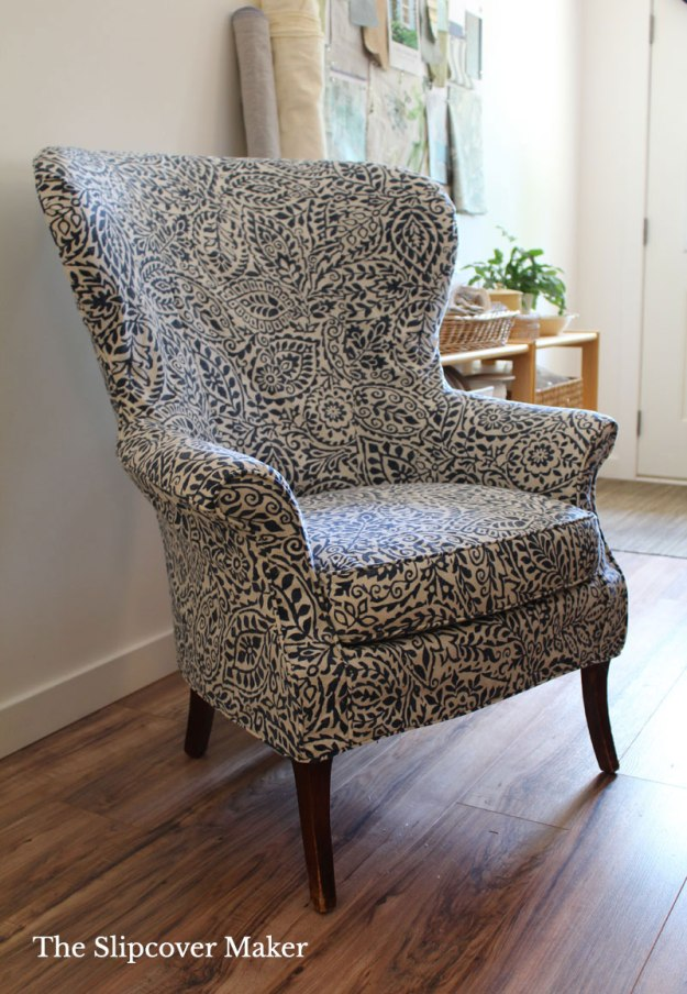 Wingback Slipcover Blue Leaf Print