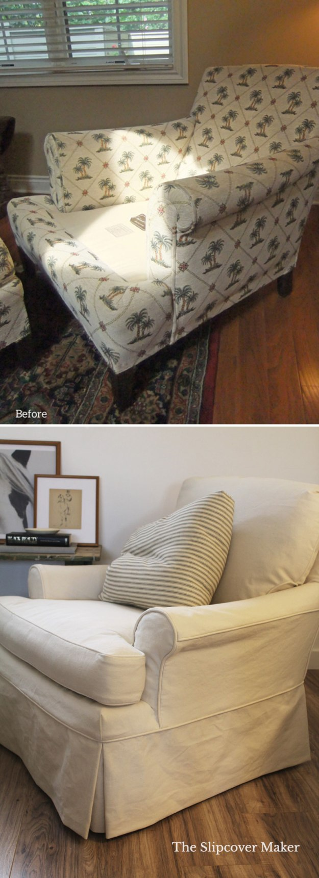 Denim Slipcover Makeover for Old Chair