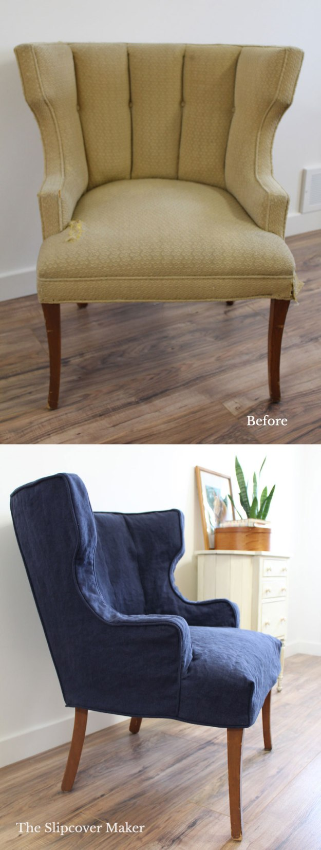 Washed Navy Linen Chair Slipcover