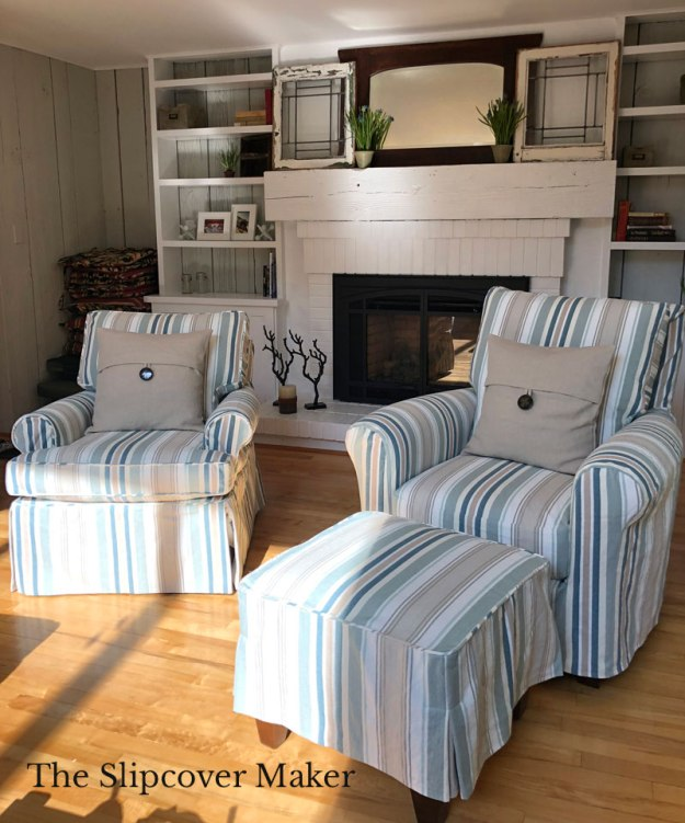 Cotton Awning Stripe Chair Slipcovers