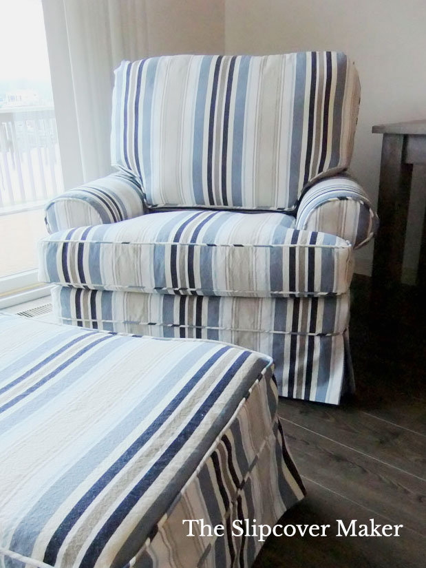Blue Cotton Awning Stripe Slipcover